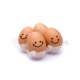 Sleep with happiness brown eggs. Sleep with happiness Pack of four brown eggs Royalty Free Stock Photo