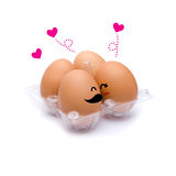 Sleep with happiness brown eggs Royalty Free Stock Photo