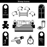 Sleep Icons. Icons for a good night\'s sleep. Counting sheep, starry night, teddy bear, milk, cookies, snore, alarm clock, comfortable bed, pillows, door hangers Stock Images