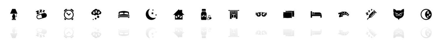 Sleep - Flat Vector Icons. Sleep icons - Black horizontal Illustration symbol on White Background with a mirror Shadow reflection. Flat Vector Icon Stock Image
