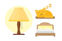 Sleep icons lamp bed vector illustration set collection nap icon relax bedtime set sleeping cat. Sleep bed icons set dream healthy lifestyle. Bedroom rest Stock Image