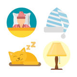 Sleep icons lamp vector illustration set collection nap icon relax bedtime set sleeping cat bedroom pajamas. Sleep time icons set dream healthy lifestyle Royalty Free Stock Image