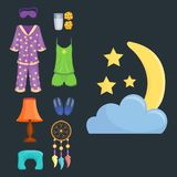 Sleep icons vector illustration set collection nap icon moon relax bedtime night bed time elements. Royalty Free Stock Photos