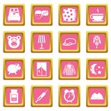 Sleep icons pink. Sleep icons set in pink color isolated vector illustration for web and any design Stock Photos