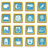 Sleep icons azure. Sleep icons set in azur color isolated vector illustration for web and any design Royalty Free Stock Photos
