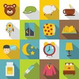 Sleep icons set, flat style Stock Image