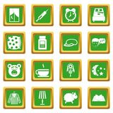 Sleep icons set green Royalty Free Stock Photo