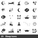25 sleep icons set Royalty Free Stock Photos