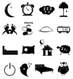 Sleep icons set Stock Photo