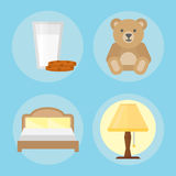 Sleep icons vector illustration set collection nap icon milk relax bedtime lamp bed bear cookies set. Sleep icons set dream healthy lifestyle. Bedroom rest Stock Photo