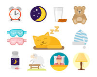 Sleep icons vector illustration set collection nap icon moon relax bedtime night bed isolated on white background Royalty Free Stock Photography
