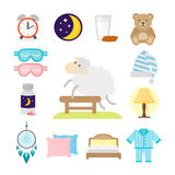 Sleep icons vector illustration set collection nap icon moon relax bedtime night bed. Sleep icons moon set pillow clock dream healthy lifestyle. Bedroom rest Royalty Free Stock Image