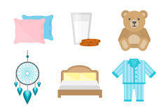 Sleep icons vector illustration set collection nap icon moon relax bedtime night bed Royalty Free Stock Images