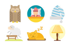 Sleep icons vector illustration set collection nap icon moon relax bedtime night bed Stock Photos