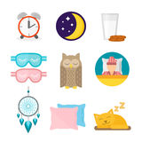 Sleep icons vector illustration set collection nap icon moon relax bedtime night bed Stock Image