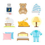 Sleep icons vector illustration set collection nap icon moon relax bedtime night bed Stock Images