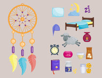 Sleep icons vector illustration set collection nap icon moon relax bedtime night bed time elements. Royalty Free Stock Photography