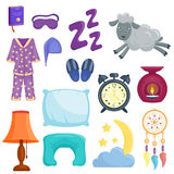 Sleep icons vector illustration set collection nap icon moon relax bedtime night bed time elements. Royalty Free Stock Image