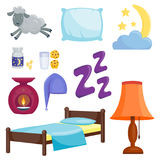 Sleep icons vector illustration set collection nap icon moon relax bedtime night bed time elements. Stock Photos