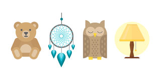 Sleep icons vector illustration set collection nap icon relax bedtime lamp owl bear isolated dream catcher Stock Photo