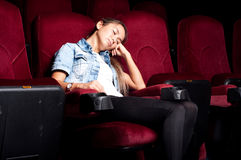 Sleep In Cinema Stock Photo