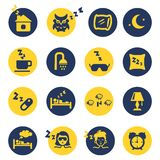 Sleep and insomnia icons. In yellow and dark blue circles. Vector illustration Royalty Free Stock Photo