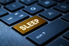 Sleep keyword on keyboard. Sleep keyword concept on computer keyboard technology background macro shot stock images