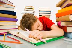Sleep during lesson Stock Image