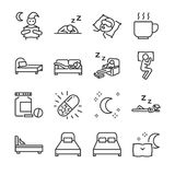 Sleep line icon set. Included the icons as insomnia, sleepless, bed, bedtime, sleepwalk, night, sleeping pill and more. Vector and illustration: Sleep line icon Royalty Free Stock Photography