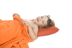 Sleep little boy stock photos