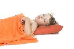 Sleep little boy on white Stock Photo