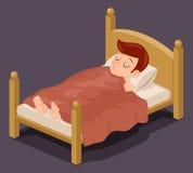 Sleep man bed rest night blanket pillow cartoon design vector illustration Stock Photos
