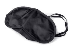 Sleep mask. Black textile sleep mask isolated on white Stock Image