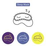 Sleep mask line icon. Logo element editable stroke. Outline flat symbols of blindfolds in colorful circles vector illustration. Concept of shut-eye slumber Stock Photography