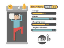 Sleep mode man in concept phone charging vector. Sleep mode man in concept phone charging number percent vector flat Stock Image