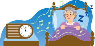 Sleep Music. Vector Illustration of a senior citizen sleeping to relaxing music Royalty Free Stock Photos