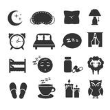 Sleep, night relax, pillow, bed, moon, owl, zzz vector icons sleeping symbols set Stock Photo