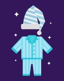 Sleep pajamas icon vector illustration bed sign symbol isolated dream bedroom bedtime pyjamas. Sleep time pajamas icon flat isolated vector illustration. Sleep Stock Images
