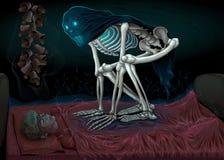 Sleep paralysis, horror scene with demon in the bedroom vector illustration