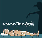 Sleep Paralysis supernatural event and condition with a ghost. Eps file Stock Photos