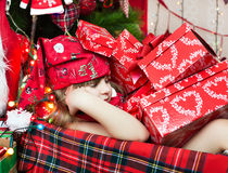 Sleep among the presents Stock Images