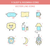 Sleep problems and insomnia symbols. Color icon set in line style Stock Photo