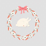 Sleep rabbit inside carrot wreath Royalty Free Stock Image