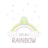 Sleep on a rainbow illustration with a frog Royalty Free Stock Photography