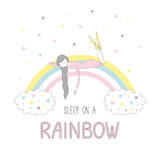 Sleep on a rainbow illustration with a girl Royalty Free Stock Image