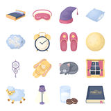 Sleep and rest set icons in cartoon style. Big collection of sleep and rest vector symbol stock illustration Royalty Free Stock Photo