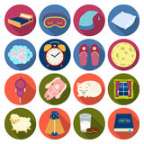 Sleep and rest set icons in flat style. Big collection of sleep and rest vector symbol stock illustration Royalty Free Stock Photo