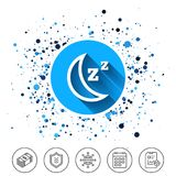 Sleep sign icon. Moon with zzz button. Button on circles background. Sleep sign icon. Moon with zzz button. Standby. Calendar line icon. And more line signs Royalty Free Stock Photography