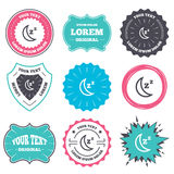Sleep sign icon. Moon with zzz button. Label and badge templates. Sleep sign icon. Moon with zzz button. Standby. Retro style banners, emblems. Vector Royalty Free Stock Photography