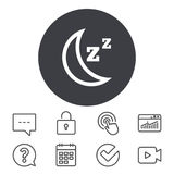 Sleep sign icon. Moon with zzz button. Standby. Calendar, Locker and Speech bubble line signs. Video camera, Statistics and Question icons. Vector Stock Photo